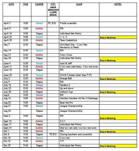 2019 TVLGA-18 Calendar