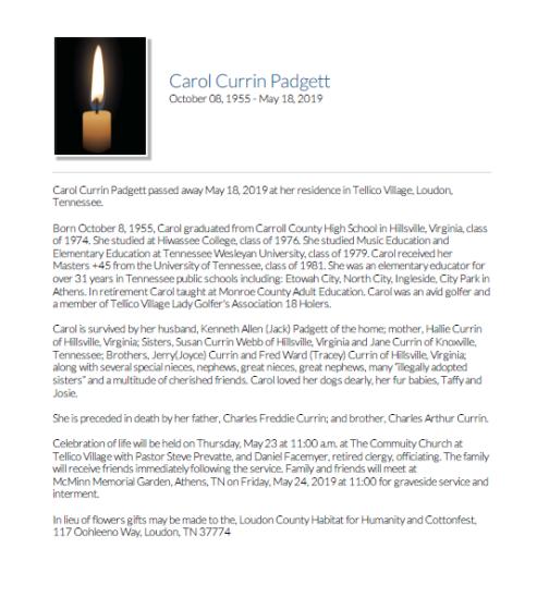 Carol Padgett Obit