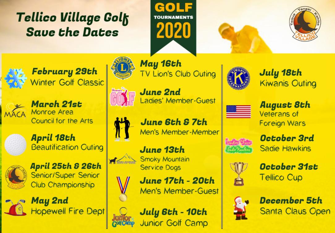 2020 Tellico Village Golf Tournament Schedule