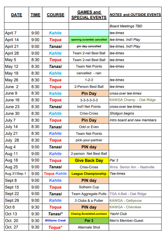 2020 Play Schedule revised 6 22 20 2