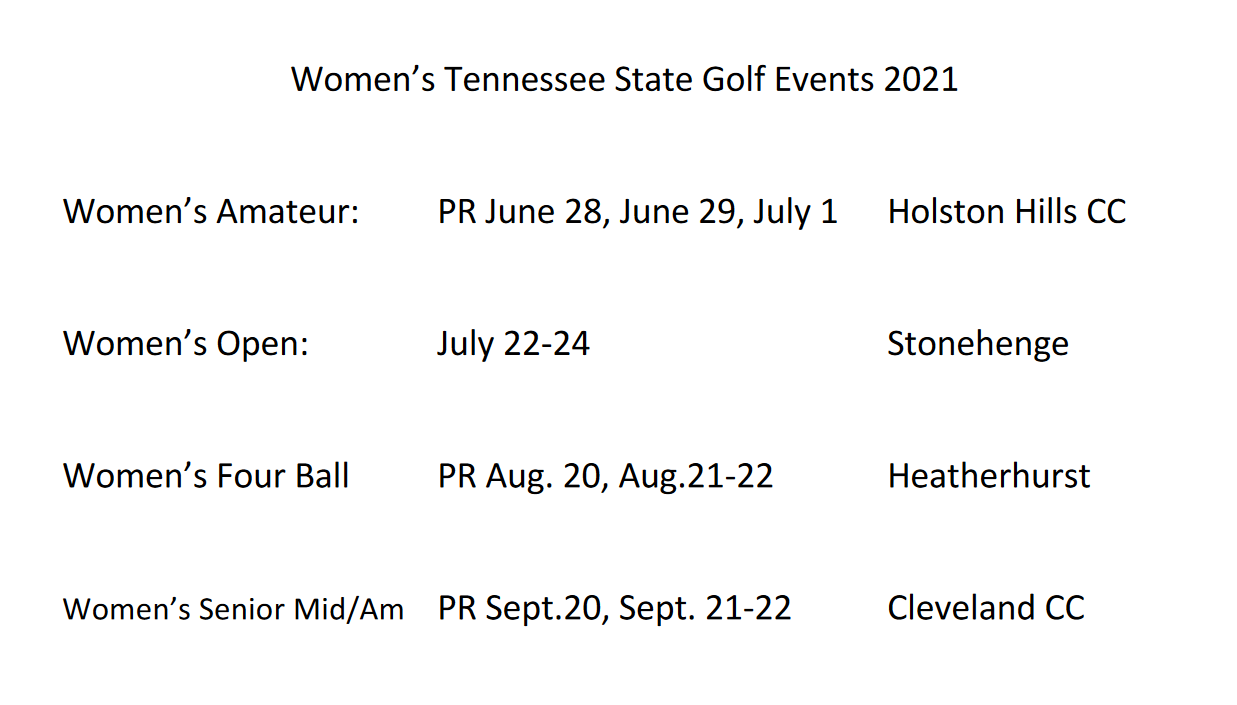 Womens Tennessee State Golf Events 2021