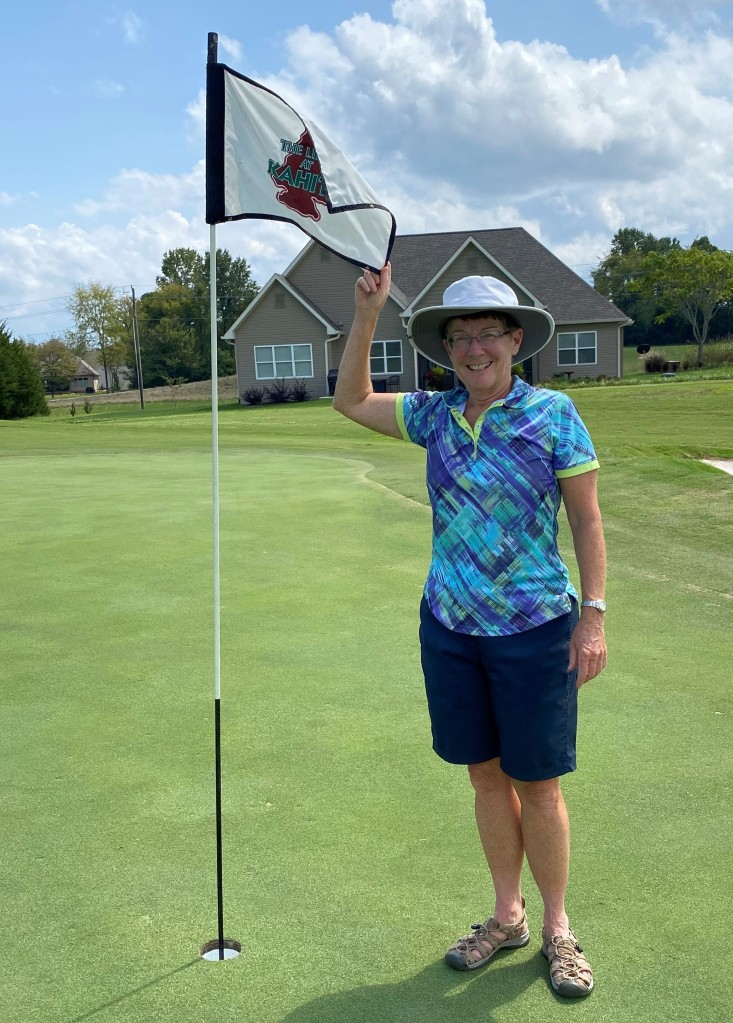 This image has an empty alt attribute; its file name is sue-miller-hole-in-one-9-7-21.jpg